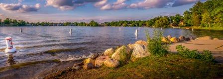 Panorama del lago Goguac - Michigan Fotografie Stock Libere da Diritti