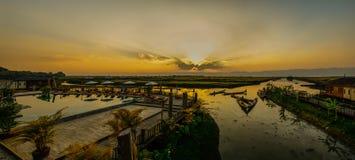 Panorama del lago Inle Fotografía de archivo libre de regalías
