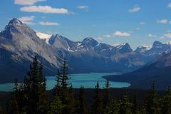 Panorama del lago Maligne Foto de archivo