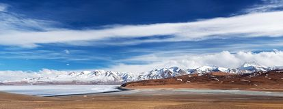 Panorama del lago Manasarovar e del picco di Gurla Mandhata, Tibet Immagine Stock