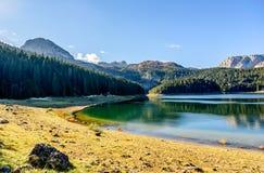Panorama del lago nero (jezero) di Crno, Durmitor, Montenegro Fotografia Stock