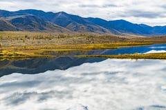 Panorama del lago selvaggio nella stagione di autunno, Russia della foresta fotografia stock libera da diritti