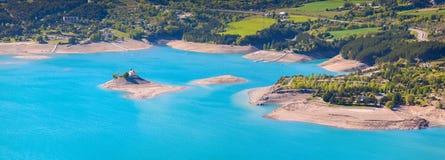 Panorama del lago Serre-Poncon Fotografia Stock