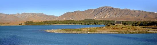 Panorama del lago Tekapo, Nuova Zelanda Fotografie Stock Libere da Diritti