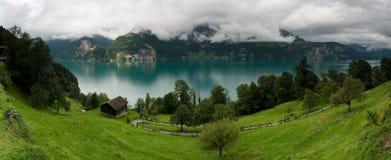 Panorama del lago Urnersee in Svizzera Fotografia Stock