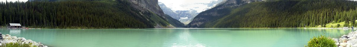 Panorama del Lake Louise Fotografie Stock