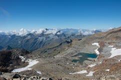Panorama del macizo de Monte Rosa cerca de Punto Indren Área de Alagna Valsesia imágenes de archivo libres de regalías