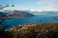 Panorama del maggiore del lago Fotografie Stock
