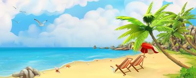 Panorama del mare Spiaggia tropicale Fondo di vettore illustrazione di stock