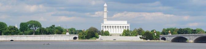 Panorama del memoriale di Lincoln e del monumento di Washington Immagine Stock Libera da Diritti