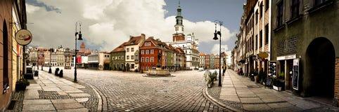 Panorama del mercado de Poznán Foto de archivo libre de regalías