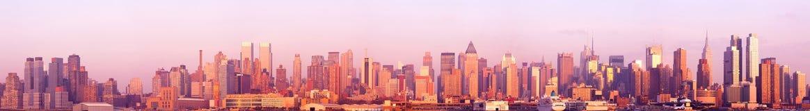 Panorama del Midtown e di Manhattan dei quartieri alti in New York Fotografia Stock