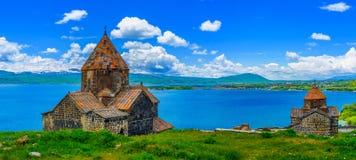 Panorama del monasterio de Sevanavank imagen de archivo