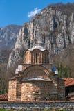 Panorama del monasterio medieval de Poganovo de St John el teólogo Foto de archivo