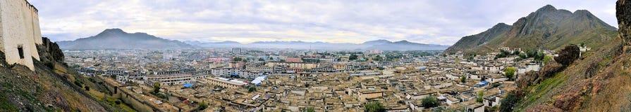 Panorama del monastero di Shigatse nel Tibet Fotografia Stock