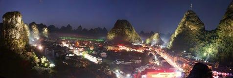 Panorama del nightscape de Yangshuo Imagenes de archivo
