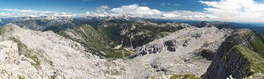 Panorama del nord dalla sommità di Krn in Julian Alps Fotografia Stock