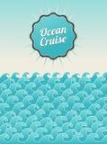 Panorama del océano de la postal del vintage Stock de ilustración