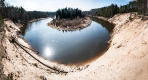 Panorama del paesaggio con il fiume Fotografia Stock