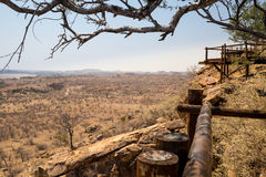 Panorama del paesaggio del deserto nel parco nazionale di Mapungubwe, Sudafrica Fotografia Stock