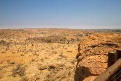Panorama del paesaggio del deserto nel parco nazionale di Mapungubwe, Sudafrica Fotografie Stock