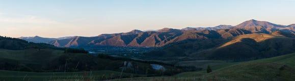 Panorama del paesaggio del villaggio nella sera Fotografia Stock Libera da Diritti