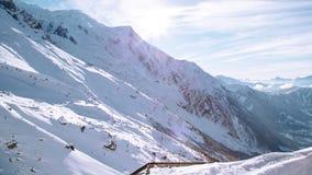 Panorama del paesaggio della montagna della neve, Francia Fotografie Stock