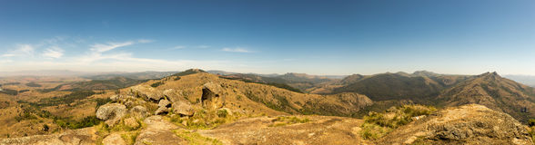 Panorama del paesaggio della savanna in montagne dello Swaziland Immagine Stock Libera da Diritti