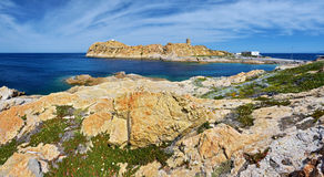 Panorama del paesaggio di Pietra Islet in Corsica Fotografia Stock