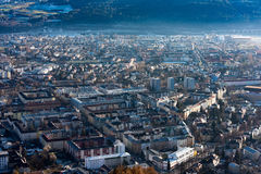 Panorama del paesaggio di vista aerea di Innsbruck Fotografia Stock