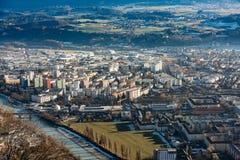 Panorama del paesaggio di vista aerea di Innsbruck Fotografia Stock Libera da Diritti