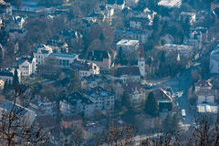 Panorama del paesaggio di vista aerea di Innsbruck Fotografie Stock
