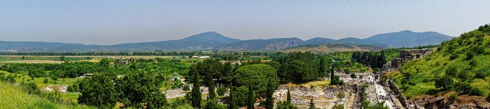 Panorama del paesaggio turco vicino a Ephesus Immagini Stock Libere da Diritti