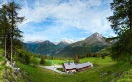 Panorama del paese di estate delle alpi (Austria). Immagine Stock