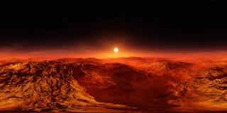 Panorama del paisaje marciano en la puesta del sol Imágenes de archivo libres de regalías