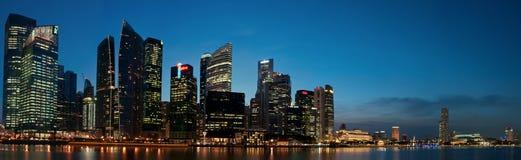 Panorama del paisaje urbano de Singapur Fotos de archivo