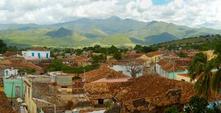 Panorama del paisaje urbano de Trinidad, Cuba Foto de archivo libre de regalías