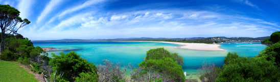 Panorama del paraíso de la playa Foto de archivo libre de regalías
