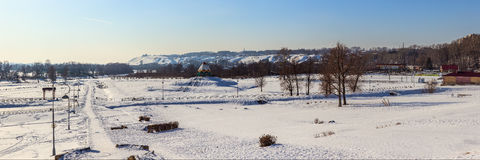 Panorama del parco di inverno Fotografia Stock