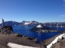 Panorama del parco nazionale del lago crater nell'Oregon, U.S.A. Immagine Stock
