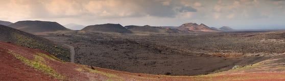 Panorama del parco nazionale di Timanfaya, Lanzarote, Spagna Immagini Stock