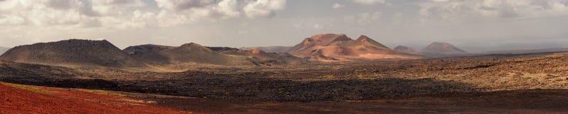 Panorama del parco nazionale del vulcano di Timanfaya, Lanzarote Immagini Stock
