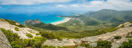 Panorama del parque nacional en Victoria, Australia del promontorio de Wilsons imagen de archivo