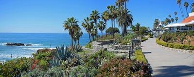 Panorama del passaggio pedonale del parco di Heisler, Laguna Beach, California Immagini Stock Libere da Diritti