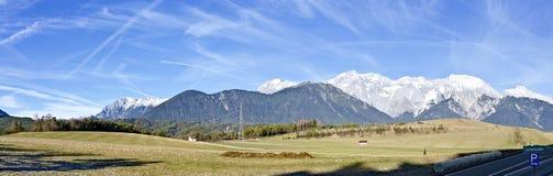 Panorama del plateau senza neve di Mieming Fotografie Stock
