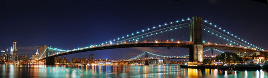 Panorama del ponte di Brooklyn a New York City Manhatta Fotografie Stock Libere da Diritti