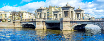 Panorama del ponte di Lomonosov Fotografia Stock