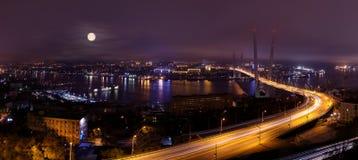 Panorama del ponte di Vladivostok alla notte Fotografia Stock