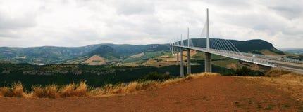 Panorama del ponticello di Millau Fotografie Stock Libere da Diritti