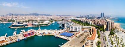 Panorama del porticciolo di Barcellona Fotografia Stock